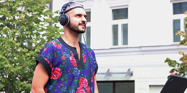 Laszlo Farkas wearing headphones